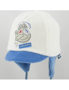 Cream / Blue baby hat Helicopter