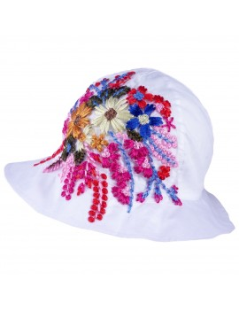 UV +30 FLOWERS HAT MAM WHITE