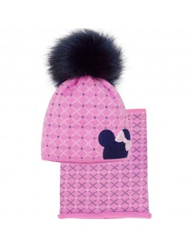 HAT AND SNOOD MINNIE PINK